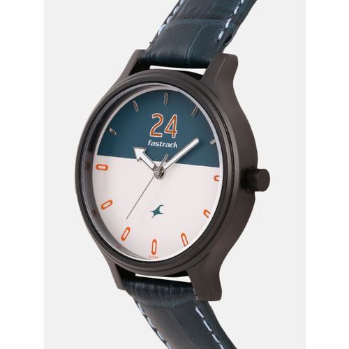 Fastrack Women Green & White Colorblocked Genuine Leather Analogue Watch 6189NL01