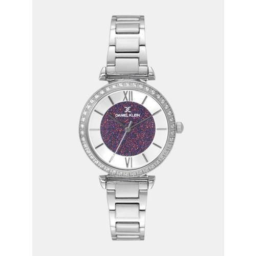 Daniel Klein Women Silver-Toned & Purple Analogue Watch DK12042-7