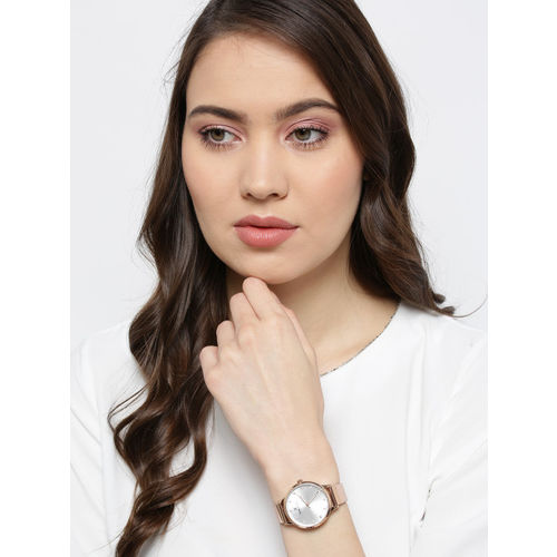 Daniel Klein Women Silver-Toned Textured Analogue Watch DK12039-3