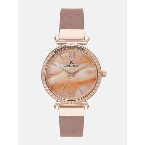 Daniel Klein Premium Women Orange & Off-White Analogue Watch 12071-2