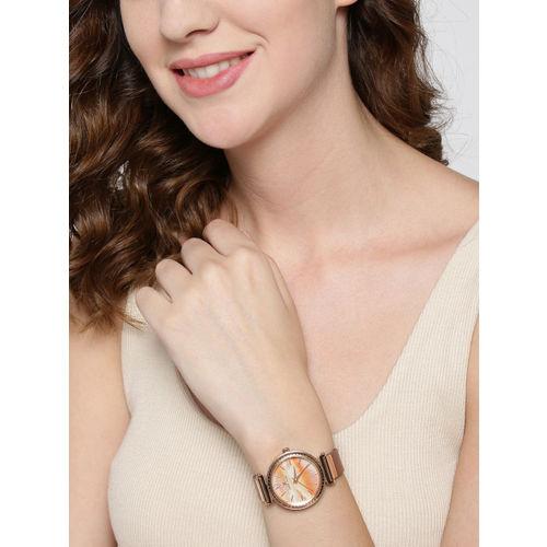Daniel Klein Premium Women Orange & Off-White Analogue Watch 12071-2