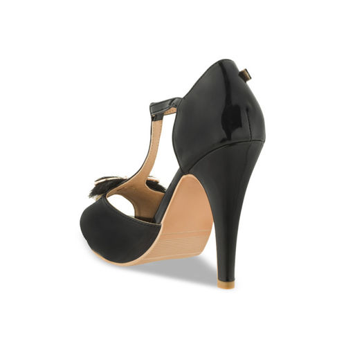 SHUZ TOUCH Women Black Solid Peep Toes