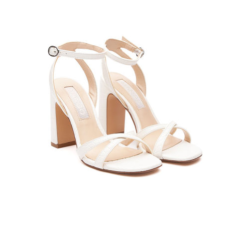 MANGO Women White Croc Pattern Block Heels