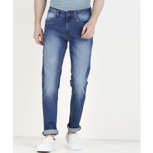 Newport Blue Cotton Denim Slim Fit Casual Jeans