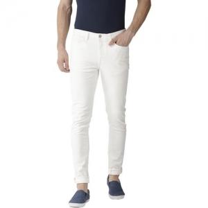 Calcium White Cotton Denim Slim Fit Casual Jeans
