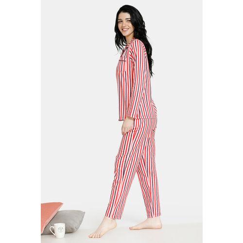 Zivame Women Peach-Coloured & Black Striped Night Suit ZI6870FASHCORNG