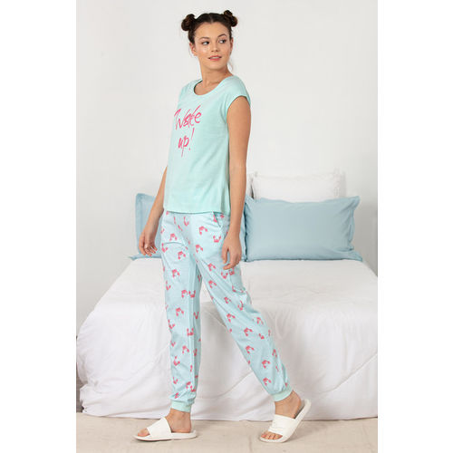Zivame Women Blue Printed Night Suit ZI6474FASHABLUE