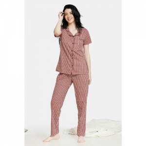 Zivame Women Brown & White Striped Night Suit ZI6869FASHABRWN