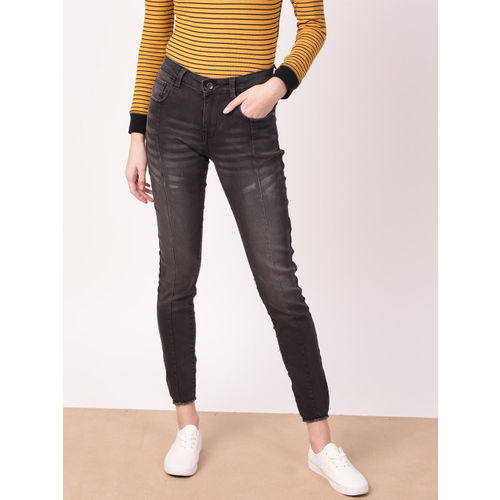 ether Women Black Jegging Fit Mid-Rise Clean Look Faded Stretchable Cropped Jeans