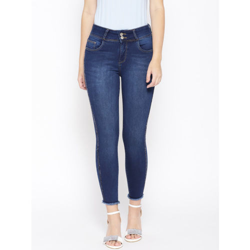 Kraus Jeans Women Navy Blue Slim Fit Mid-Rise Clean Look Stretchable Cropped Jeans