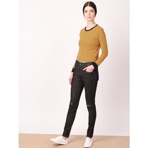 ether Women Black Skinny Fit Mid-Rise Slash Knee Stretchable Jeans
