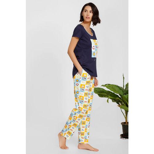 Zivame Beach Party Top N Pyjama Set - Green Print