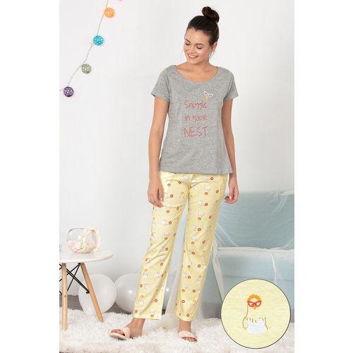 Zivame Hen Party Top N Pyjama Set - Yellow N Print