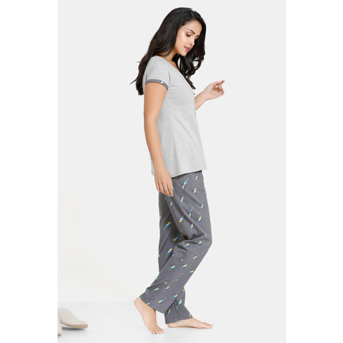 Zivame Tropical Animal Print Cotton Top N Pyjama Set - Grey