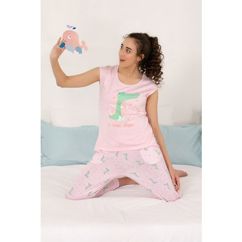 Zivame Sea Life Top N Pyjama Set - Pink N Print