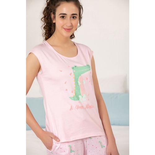 Zivame Sea Life Top N Pyjama Set - Pink N Print