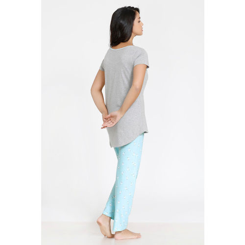 Zivame Tropical Animal Print Cotton Top N Pyjama Set - Blue