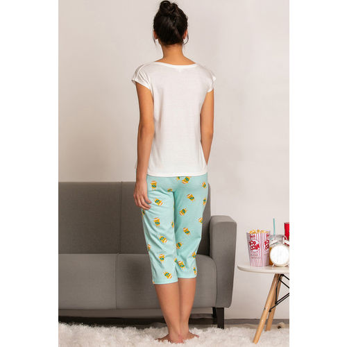 Zivame Mid Night Munchies Cotton Knit Top N Capri Set - Blue N Print