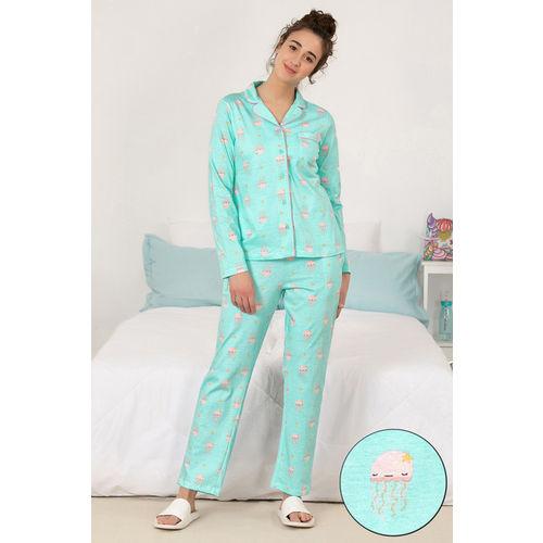 Zivame Sea Life Top N Pyjama Set - Blue N Print