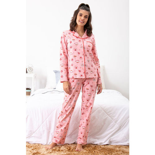 Zivame Coffee Times Top N Pyjama Set - Pink N Print