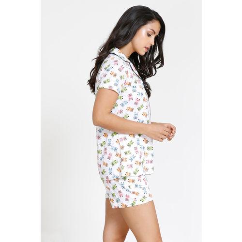 Zivame Tropical Animal Print Cotton Knit Top N Shorts Set - White