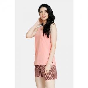 Zivame Stripes And Fun Cotton Top N Shorts Set - Peach