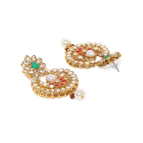 Zaveri Pearls Gold-Toned & Red Kundan & Pearls Traditional Jewellery Set