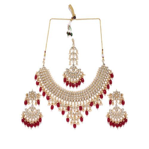 Zaveri Pearls Gold-Toned & Red Kundan Jewellery Set