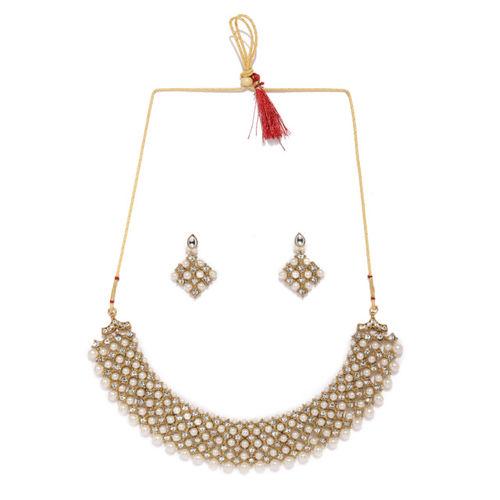 Zaveri Pearls Gold-Toned & White Austrian Diamonds & Pearls Jewellery Set