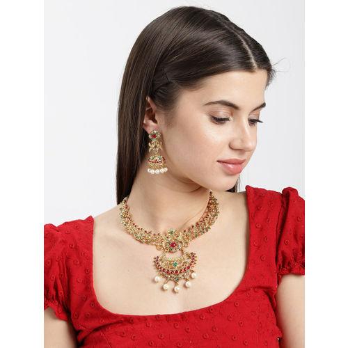 Zaveri Pearls Antique Gold-Toned Intricately Designed Jewellery Set