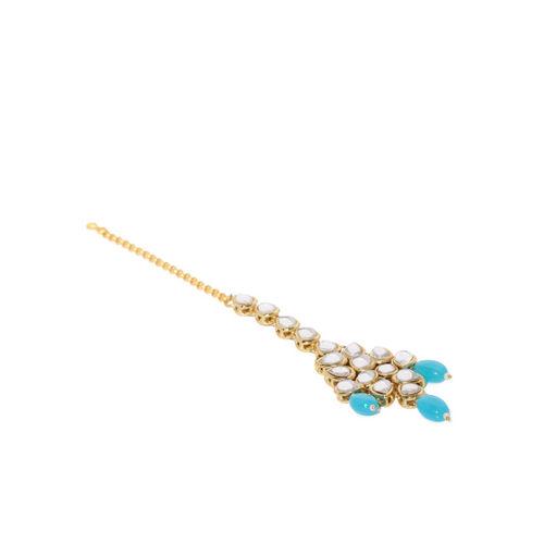 Zaveri Pearls Gold Toned Kundan & Blue Beads Jewellery Set