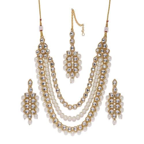 Zaveri Pearls Gold Toned Kundan & Pearl Jewellery Set