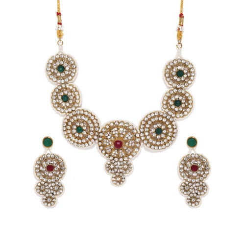 Zaveri Pearls Sparkling Austrian Diamonds Studded Jewellery Set
