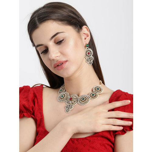Zaveri Pearls Sparkling Austrian Diamonds Studded Jewellery Set