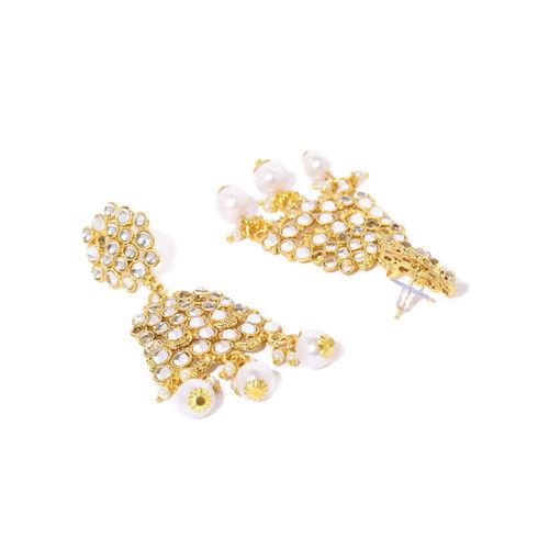 Zaveri Pearls Gold-Toned Traditional Kundan & Pearl Jewellery Set