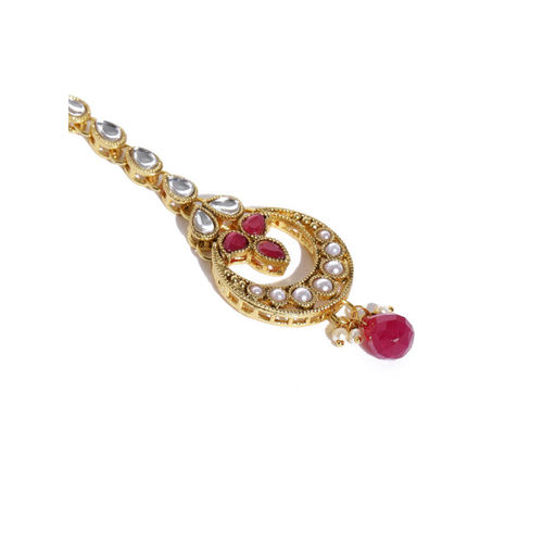 Zaveri Pearls Gold-Toned & Red Ethnic Kundan Jewellery Set