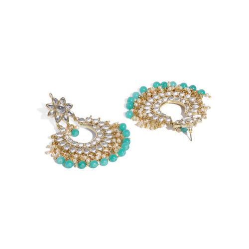 Zaveri Pearls Gold Toned Kundan & Green Beads Studded Jewellery Set