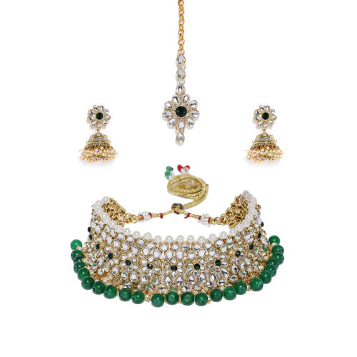 Zaveri Pearls Gold Toned Kundan & Green Beaded Jewellery Set