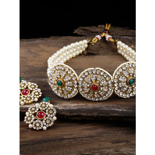 Zaveri Pearls Gold-Toned Austrian Diamonds Studded & Pearl Strands Jewellery Set