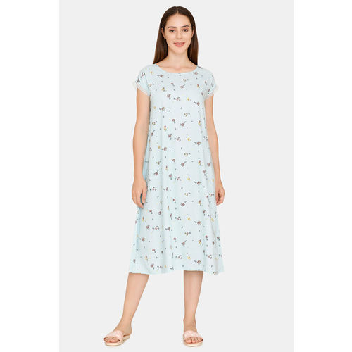 Zivame Summer Chintz A-Line Floral Print Lace Mid Length Night Dress - Light Blue