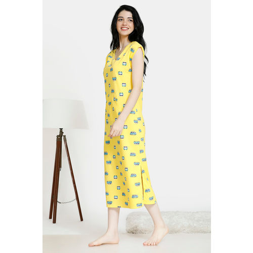 Zivame Pop Fresh Cotton Mid Length Night Dress - Yellow