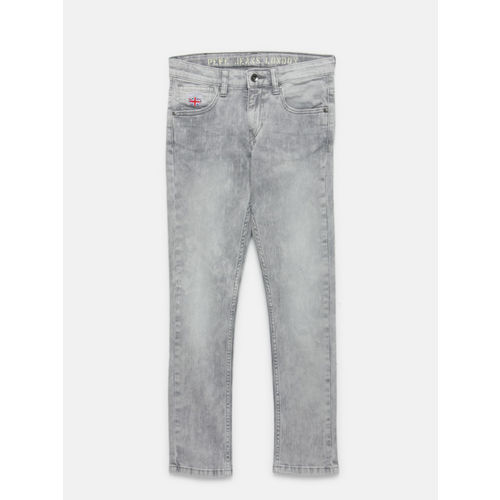 Pepe Jeans Boys Grey Cashed Slim Fit Mid-Rise Clean Look Stretchable Jeans