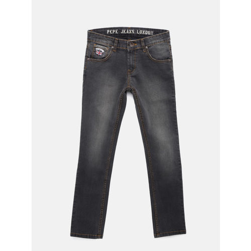 Pepe Jeans Boys Grey Regular Fit Mid-Rise Clean Look Stretchable Jeans