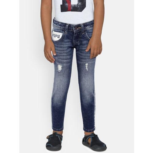 Pepe Jeans Boys Blue Slim Fit Low-Rise Low Distress Jeans
