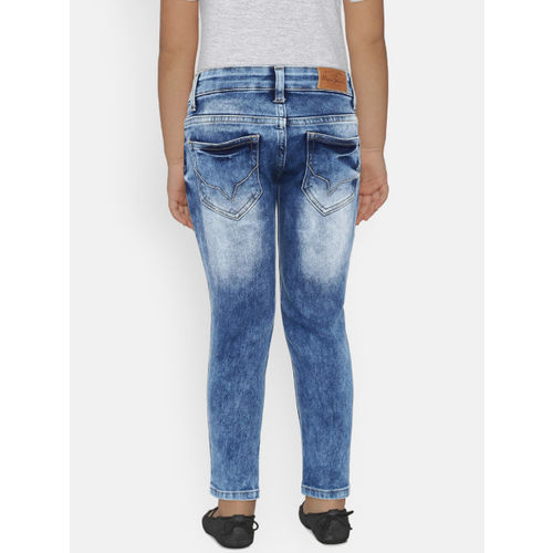 Pepe Jeans Boys Blue Regular Fit Mid-Rise Low Distress Stretchable Jeans