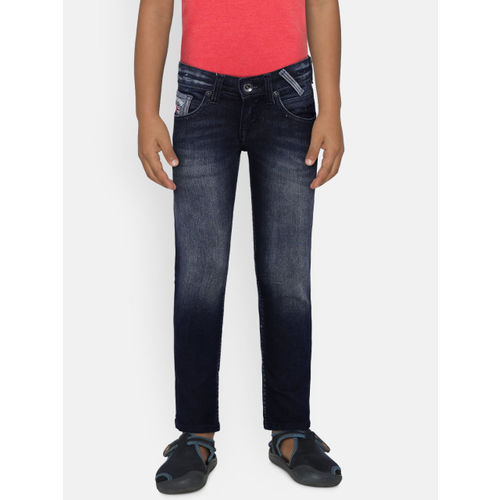 Pepe Jeans Boys Navy Blue Slim Fit Mid-Rise Clean Look Stretchable Jeans