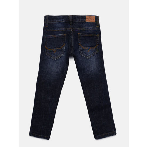 Pepe Jeans Boys Blue Slim Fit Highly Distressed Jeans