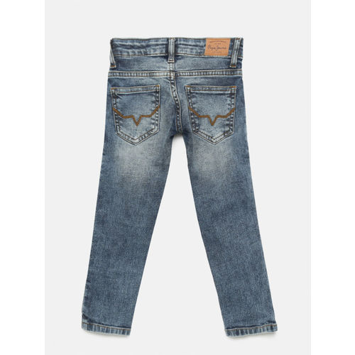 Pepe Jeans Boys Blue Slim Fit Mid-Rise Low Distress Jeans