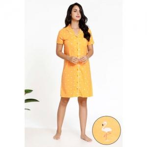 Zivame Tropical Animal Print Knit Short Length Cotton Knit Nightdress - Orange