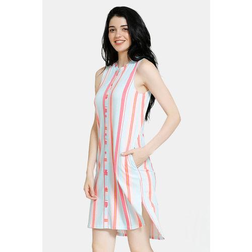 Zivame Pop Fresh Cotton Mid Length Night Dress - Pink